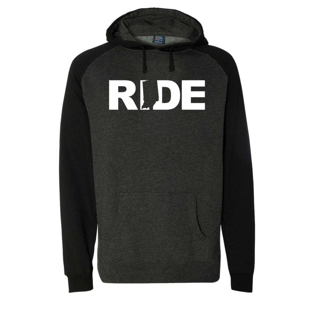 Ride Indiana Classic Raglan Hooded Pullover Sweatshirt Charcoal/Heather Black (White Logo)