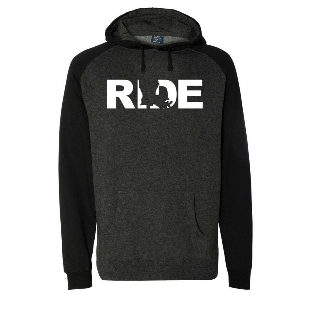 Ride Louisiana Classic Raglan Hooded Pullover Sweatshirt Charcoal/Heather Black (White Logo)