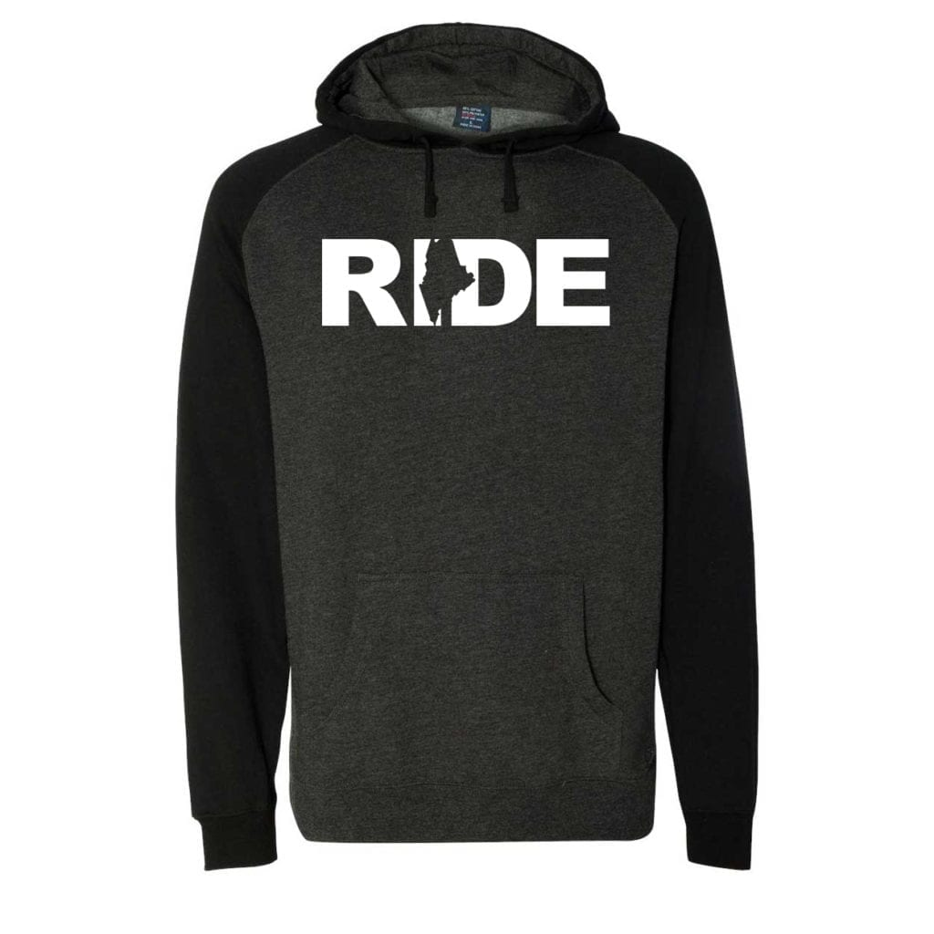 Ride Maine Classic Raglan Hooded Pullover Sweatshirt Charcoal/Heather Black (White Logo)