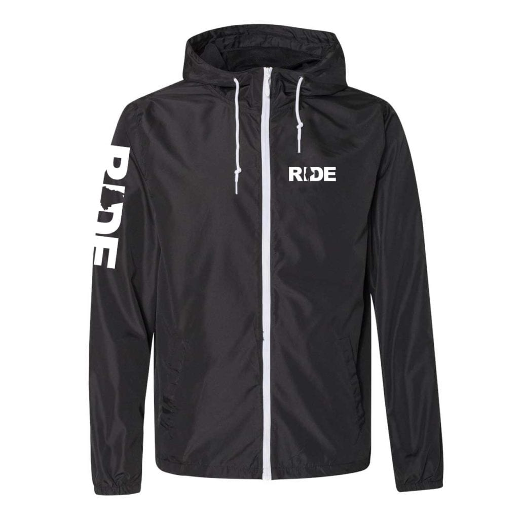 Ride Maine Classic Lightweight Windbreaker Black White (White Logo)