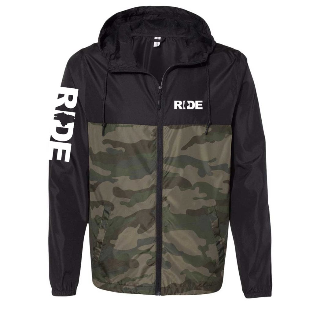 Ride Maine Classic Lightweight Windbreaker Black/Forest Camo (White Logo)