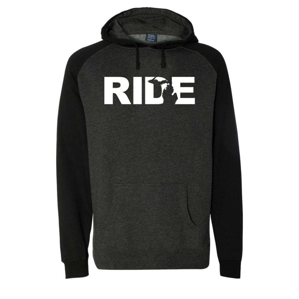 Ride Michigan Classic Raglan Hooded Pullover Sweatshirt Charcoal/Heather Black (White Logo)