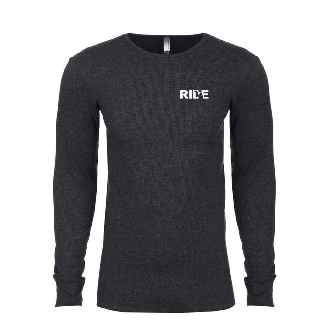 Ride Michigan Long Sleeve Thermal Shirt Heather Charcoal (White Logo)
