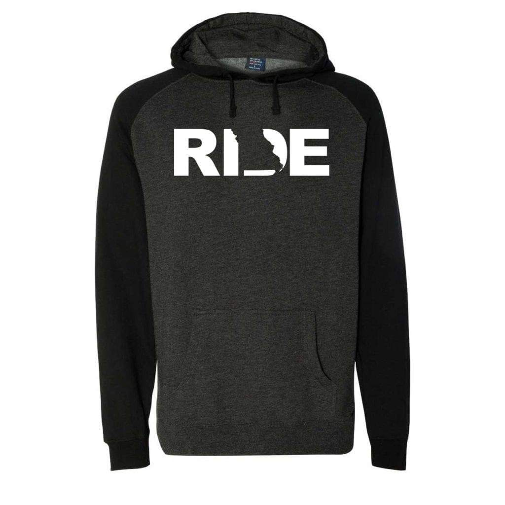 Ride Missouri Classic Raglan Hooded Pullover Sweatshirt Charcoal/Heather Black (White Logo)