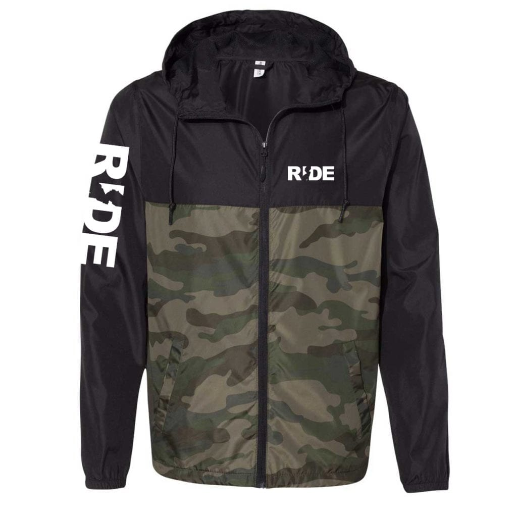 Ride New Jersey Classic Lightweight Windbreaker Black/Forest Camo (White Logo)