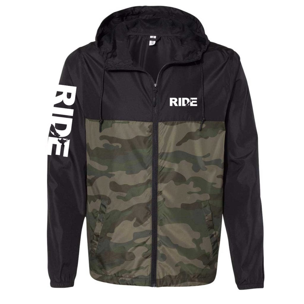 Ride New Zealand Classic Lightweight Windbreaker Black/Forest Camo (White Logo)