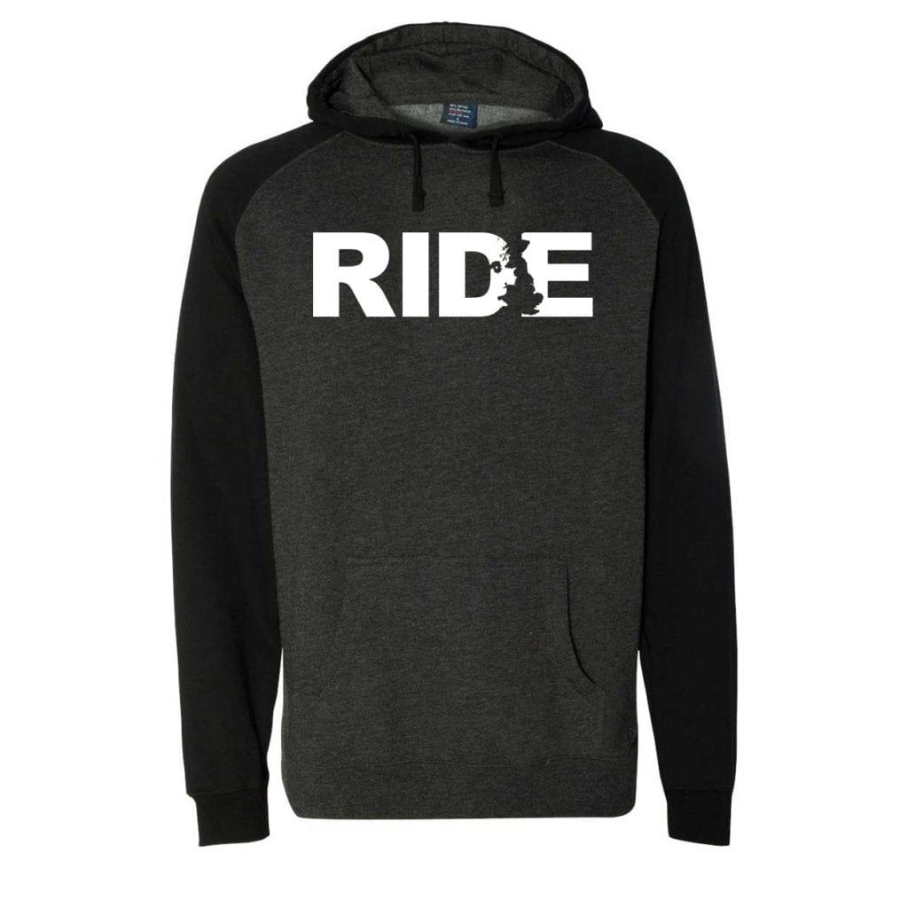 Ride United Kingdom Classic Raglan Hooded Pullover Sweatshirt Charcoal/Heather Black (White Logo)