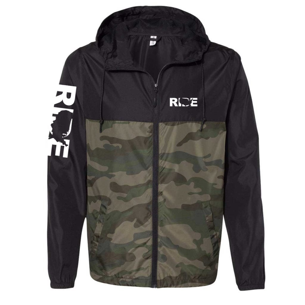 Ride United States Classic Lightweight Windbreaker Black/Forest Camo (White Logo)
