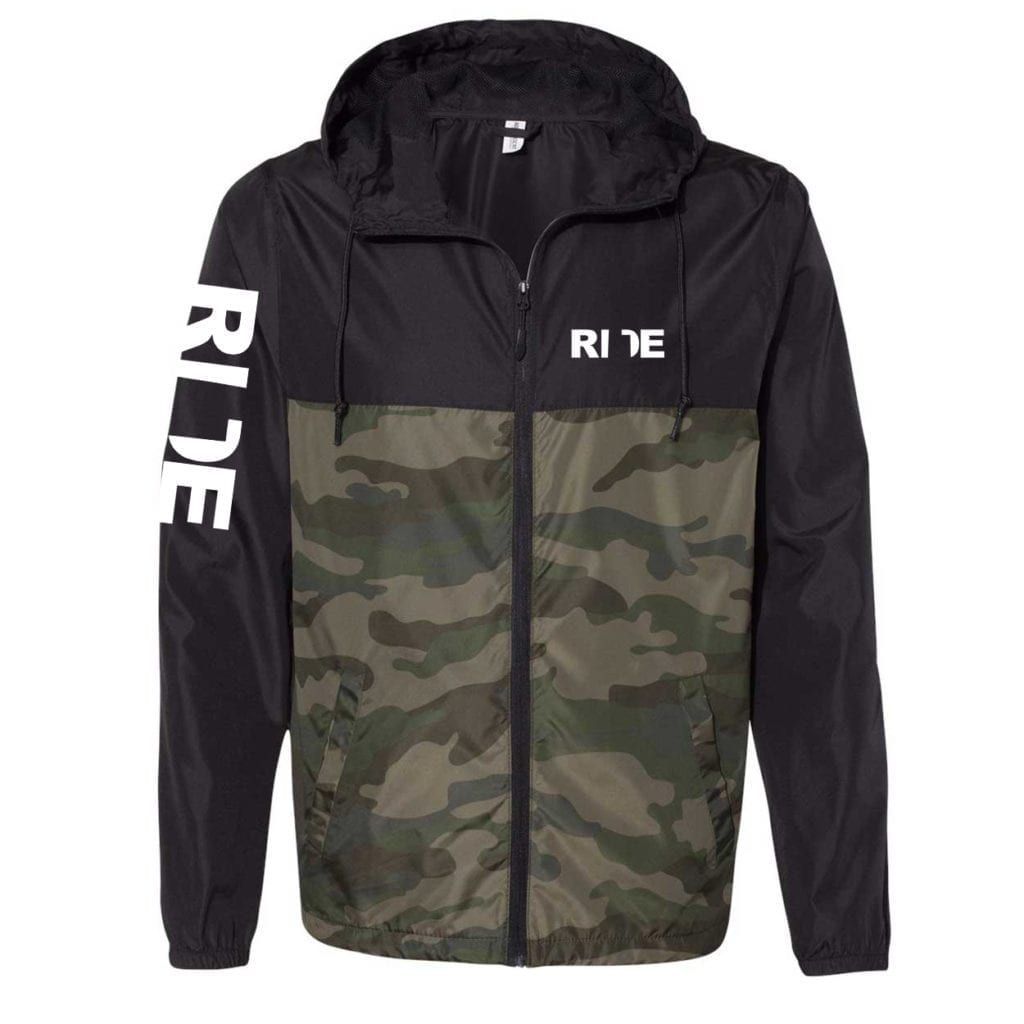 Ride Utah Classic Lightweight Windbreaker Black/Forest Camo (White Logo)