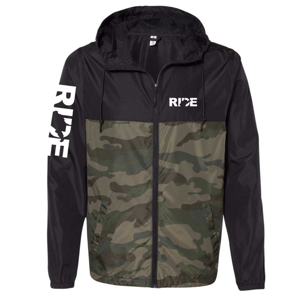 Ride West Virginia Classic Lightweight Windbreaker Black/Forest Camo (White Logo)