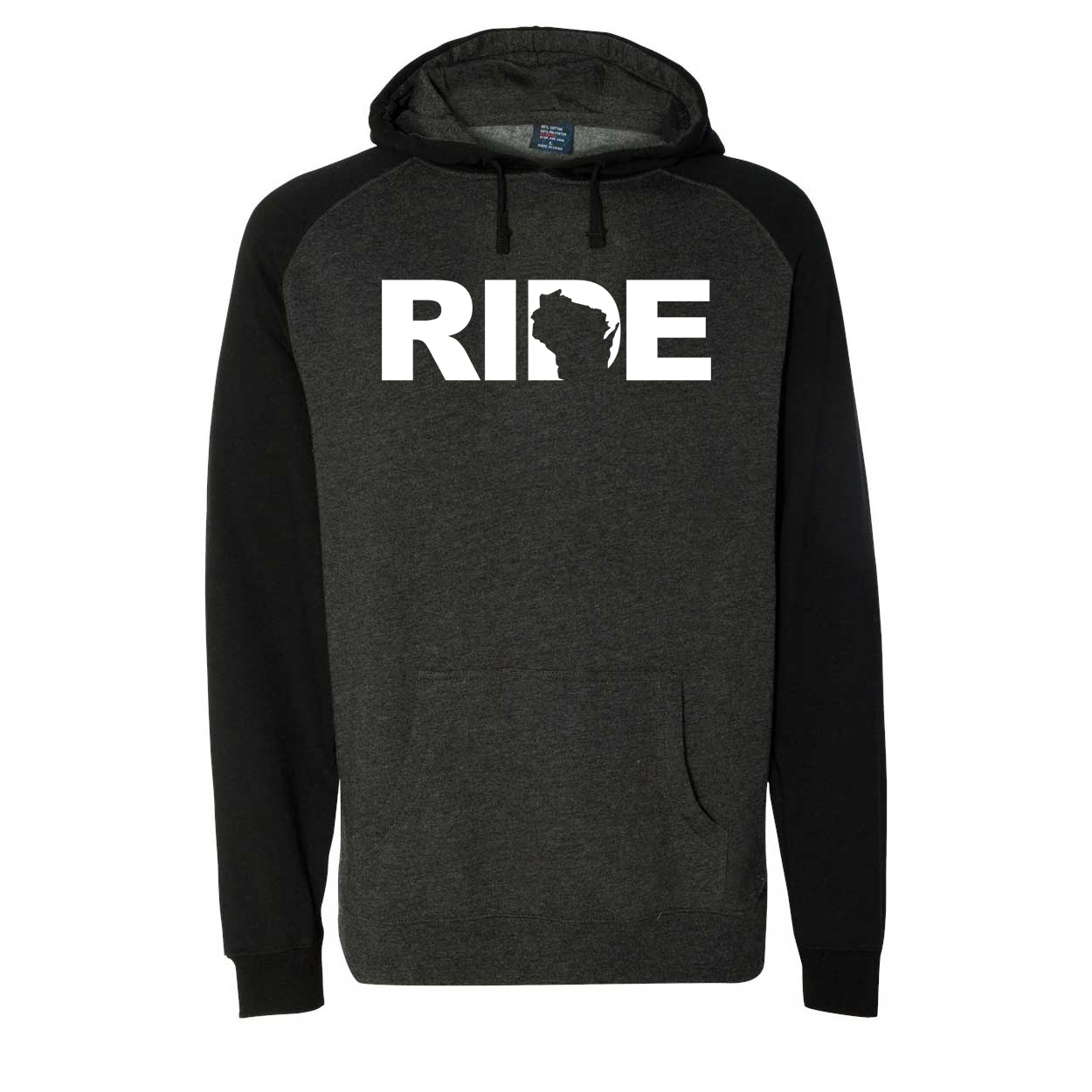 Ride Wisconsin Classic Raglan Hooded Pullover Sweatshirt Charcoal/Heather Black (White Logo)