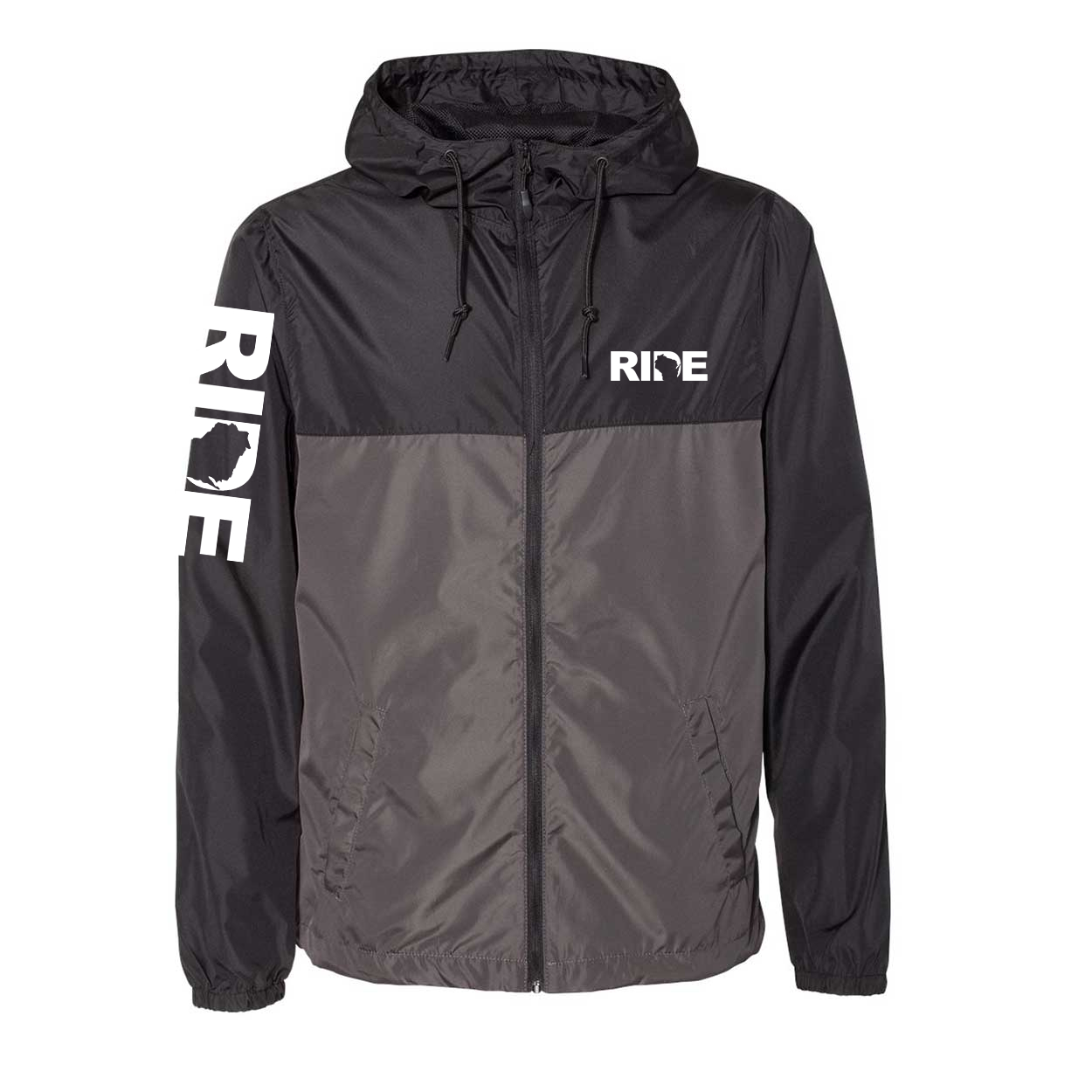 Ride Wisconsin Classic Lightweight Windbreaker Black/Graphite (White Logo)