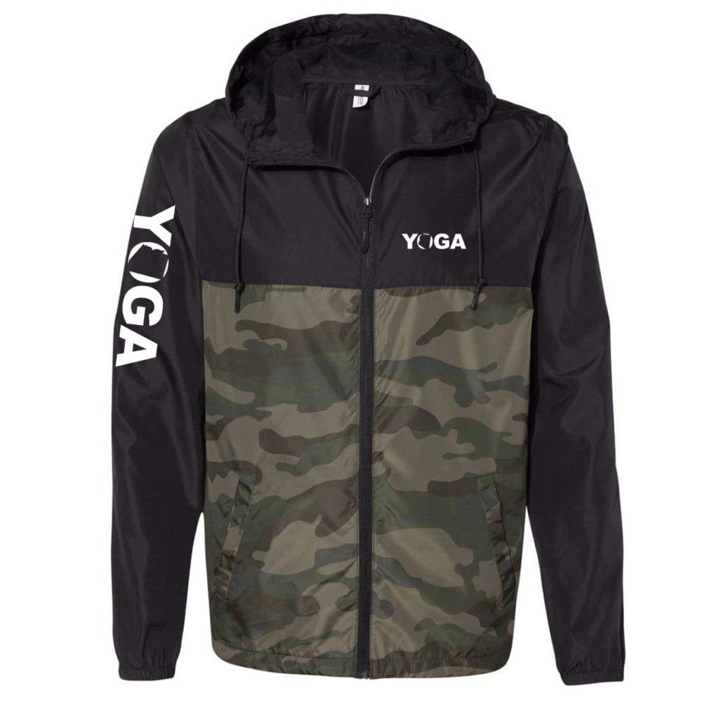 Yoga Arizona Classic Lightweight Windbreaker Black/Forest Camo (White Logo)