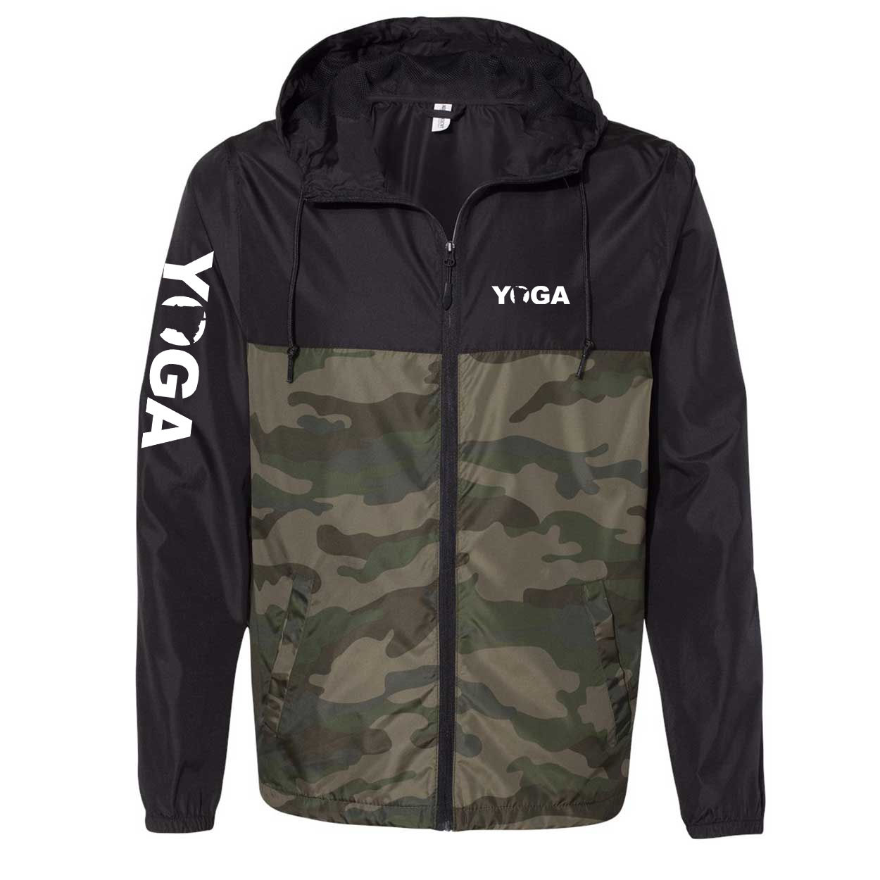 Yoga Minnesota Classic Lightweight Windbreaker Black/Forest Camo (White Logo)