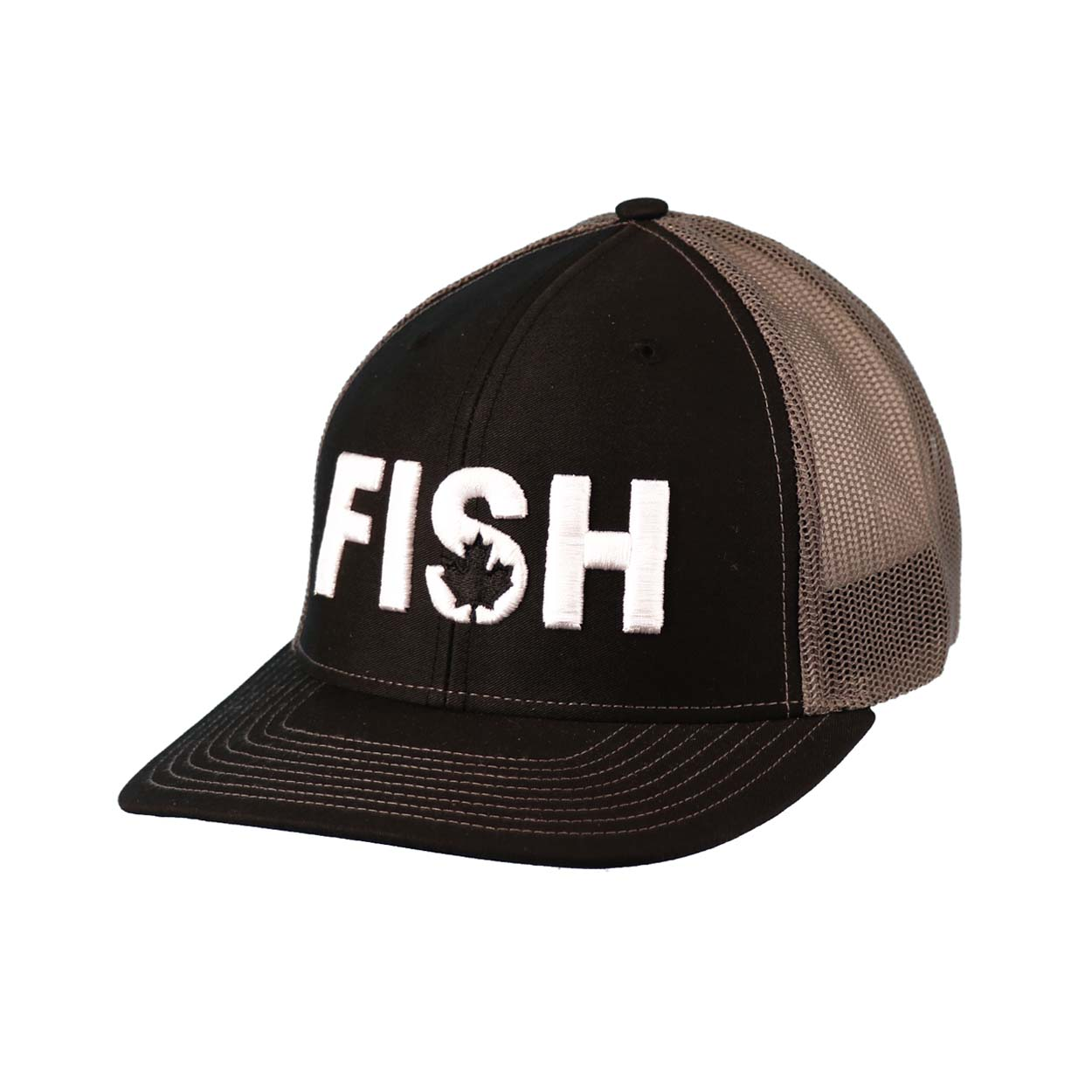 Fish Canada Classic Embroidered Snapback Trucker Hat Black/White
