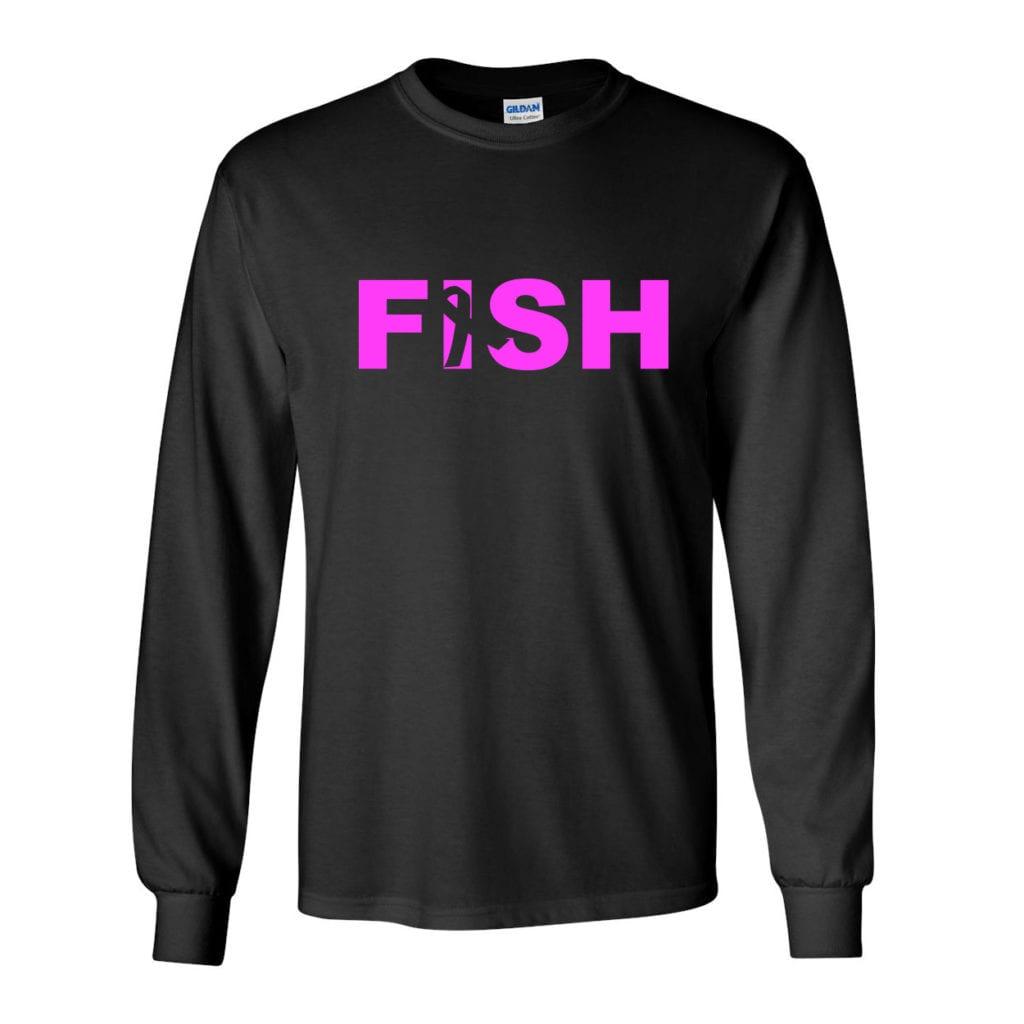 Fish Ribbon Logo Classic Long Sleeve T-Shirt Black (White Logo)