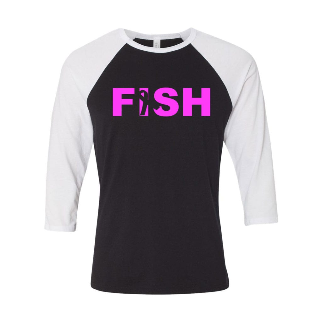 Fish Ribbon Logo Classic Raglan Shirt Black/White (White Logo)