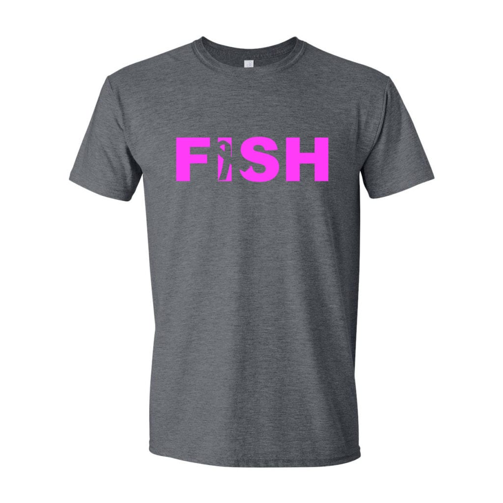 Fish Ribbon Logo Classic T-Shirt Dark Heather Gray (White Logo)