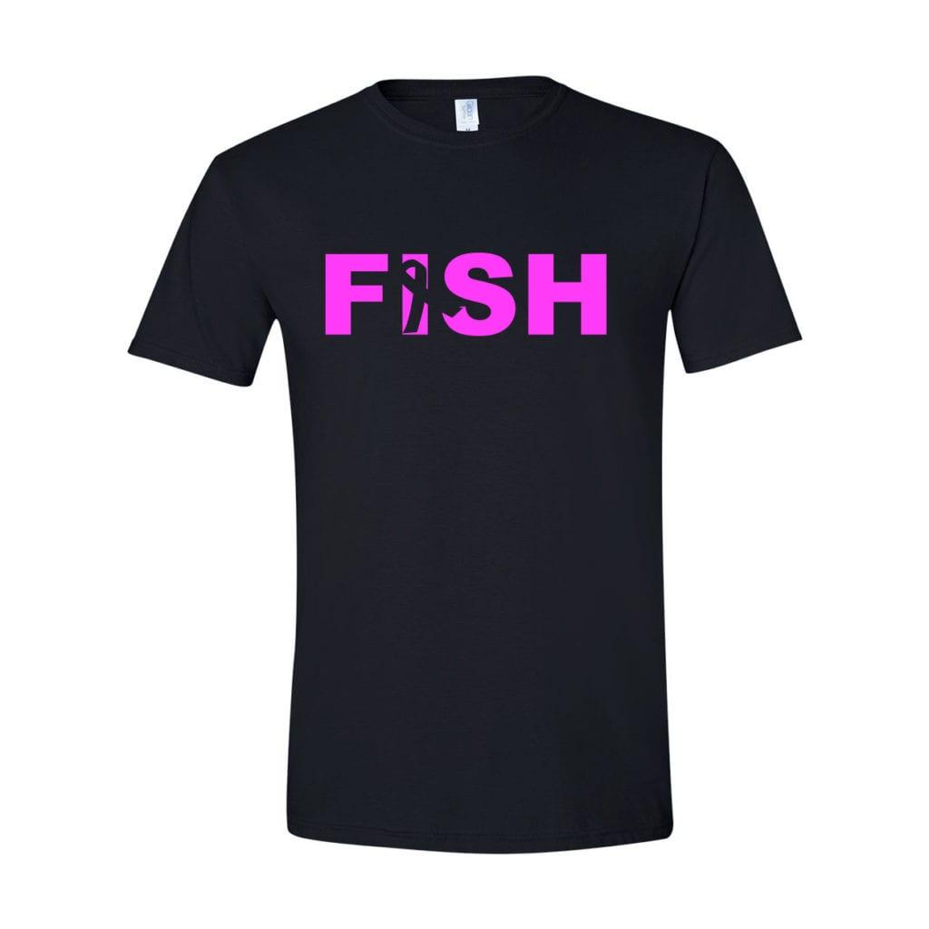 Fish Ribbon Logo Classic T-Shirt Black (White Logo)