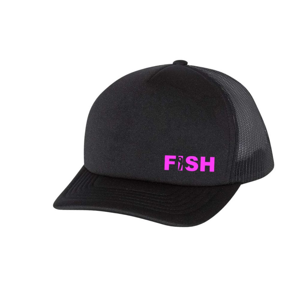 Fish Ribbon Logo Night Out Premium Foam Trucker Snapback Hat Black (White Logo)
