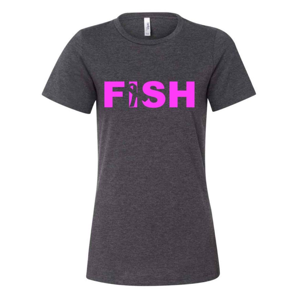 Fish Ribbon Logo Classic Women's Relaxed Jersey T-Shirt Dark Gray Heather (White Logo)