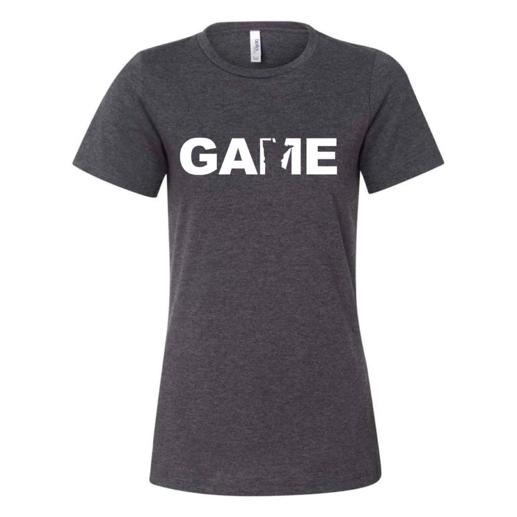Game Minnesota Classic Women's Relaxed Jersey T-Shirt Dark Gray Heather (White Logo)