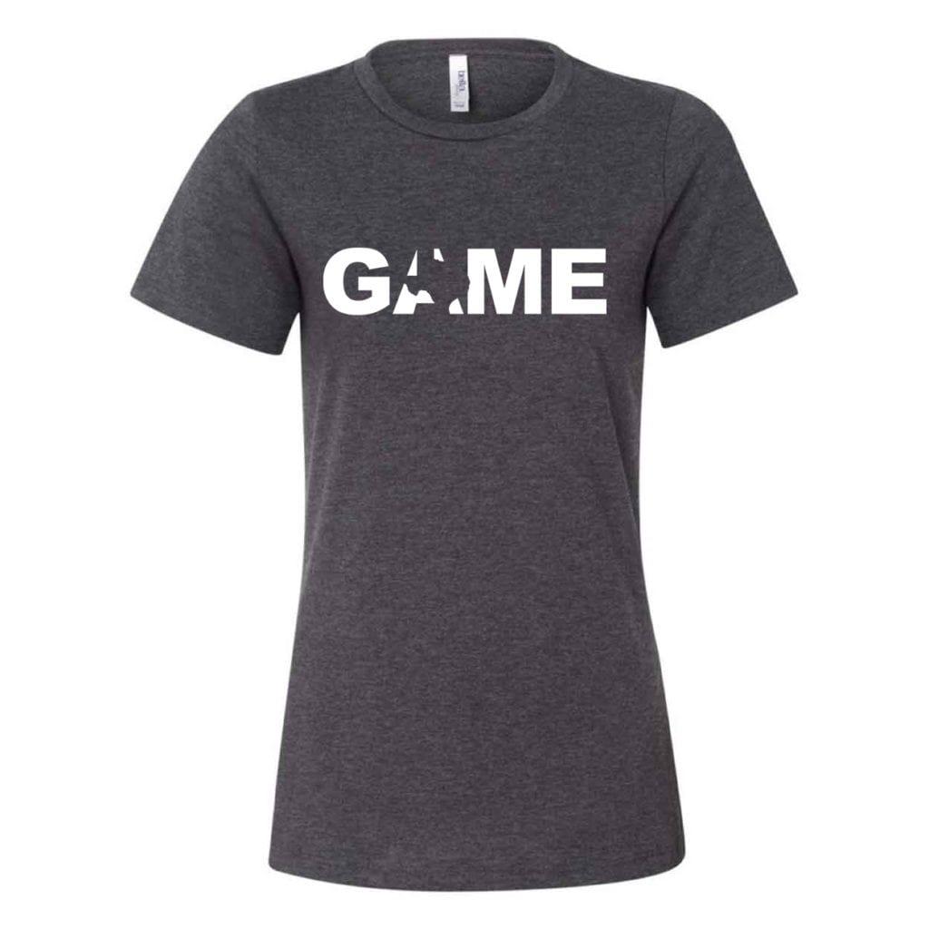 Game Texas Classic Women's Relaxed Jersey T-Shirt Dark Gray Heather (White Logo)
