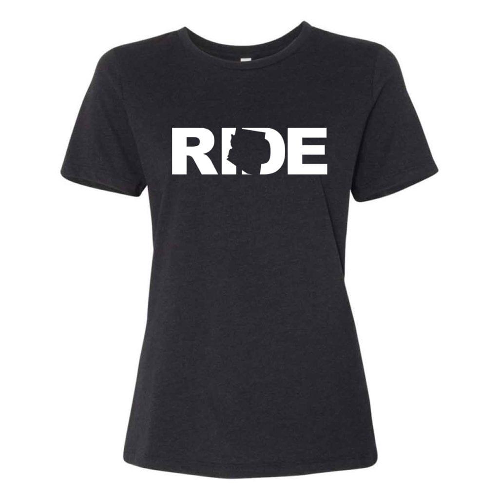 Ride Arizona Classic Women's Relaxed Jersey T-Shirt Black Heather (White Logo)