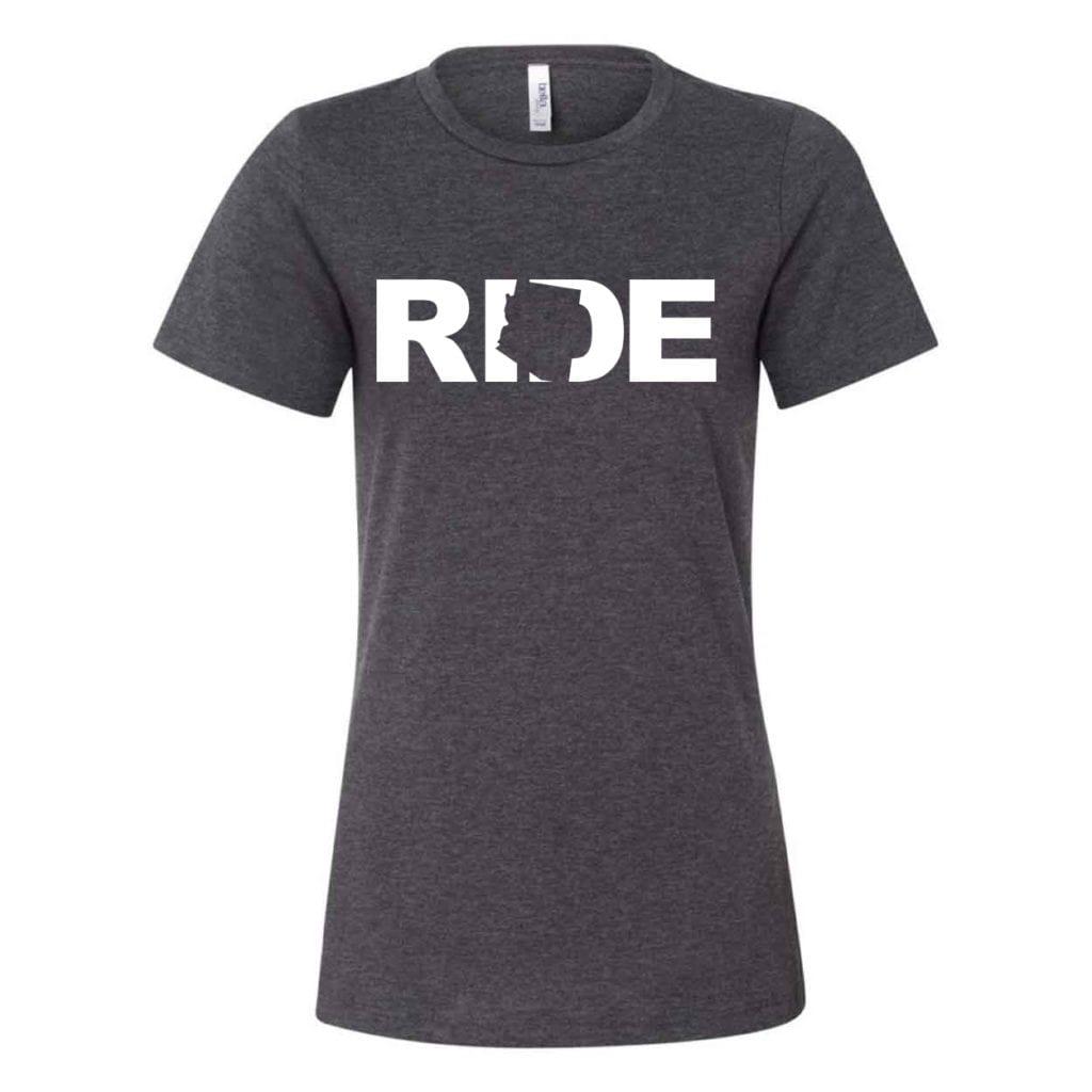 Ride Arizona Classic Women's Relaxed Jersey T-Shirt Dark Gray Heather (White Logo)