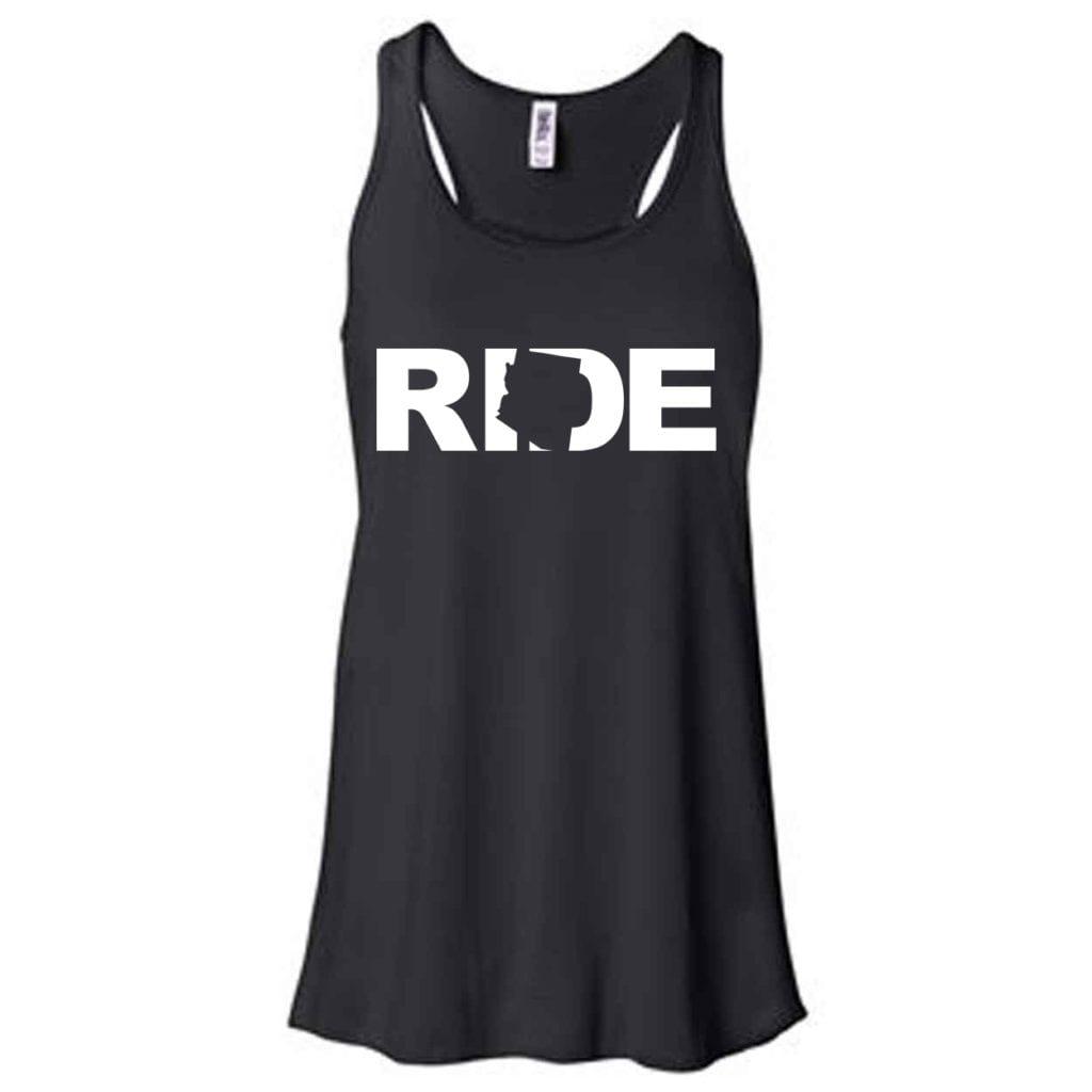Ride Arizona Classic Women's Flowy Racerback Tank Top Black (White Logo)