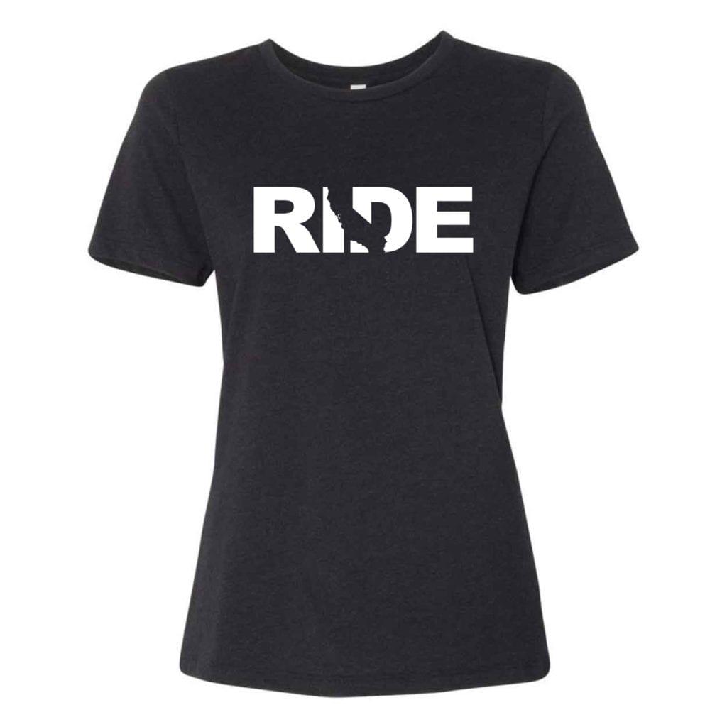Ride California Classic Women's Relaxed Jersey T-Shirt Black Heather (White Logo)