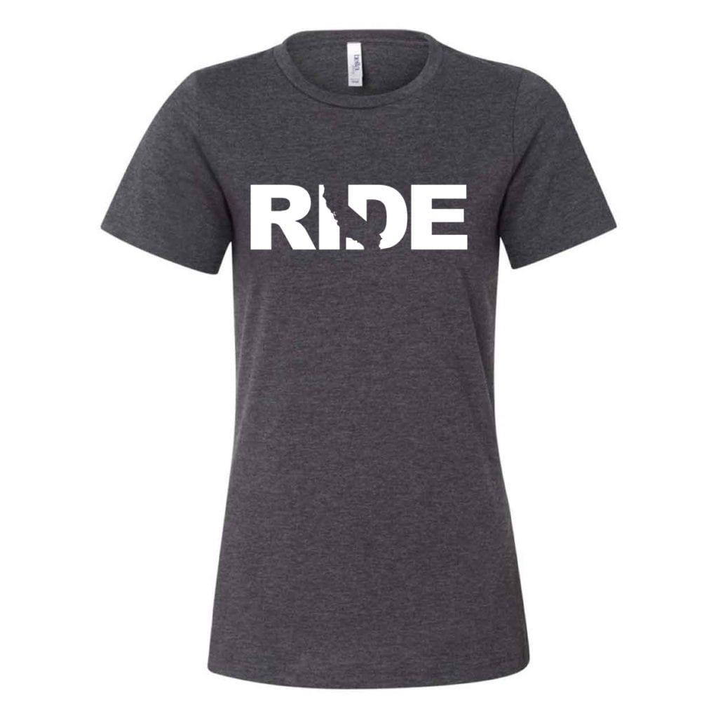 Ride California Classic Women's Relaxed Jersey T-Shirt Dark Gray Heather (White Logo)