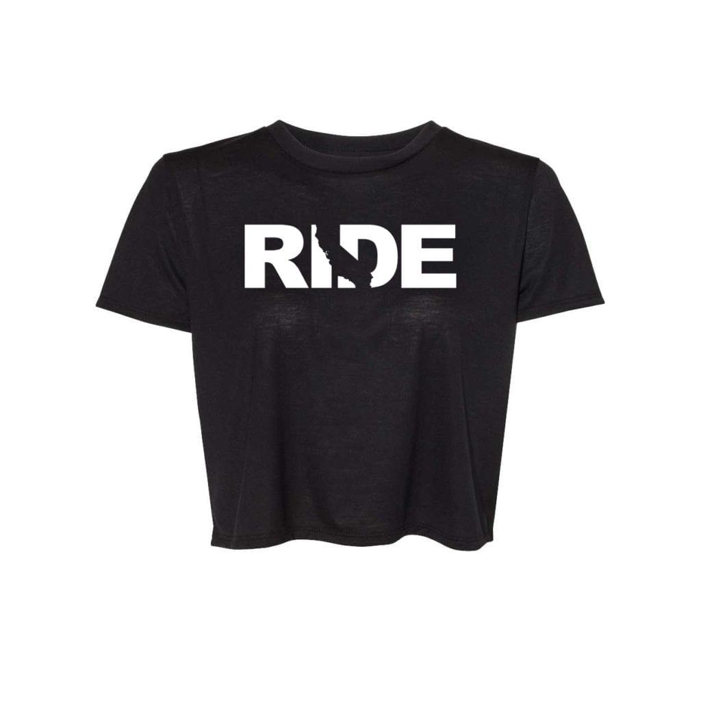 Ride California Classic Womens Flowy Cropped Tee Black (White Logo)