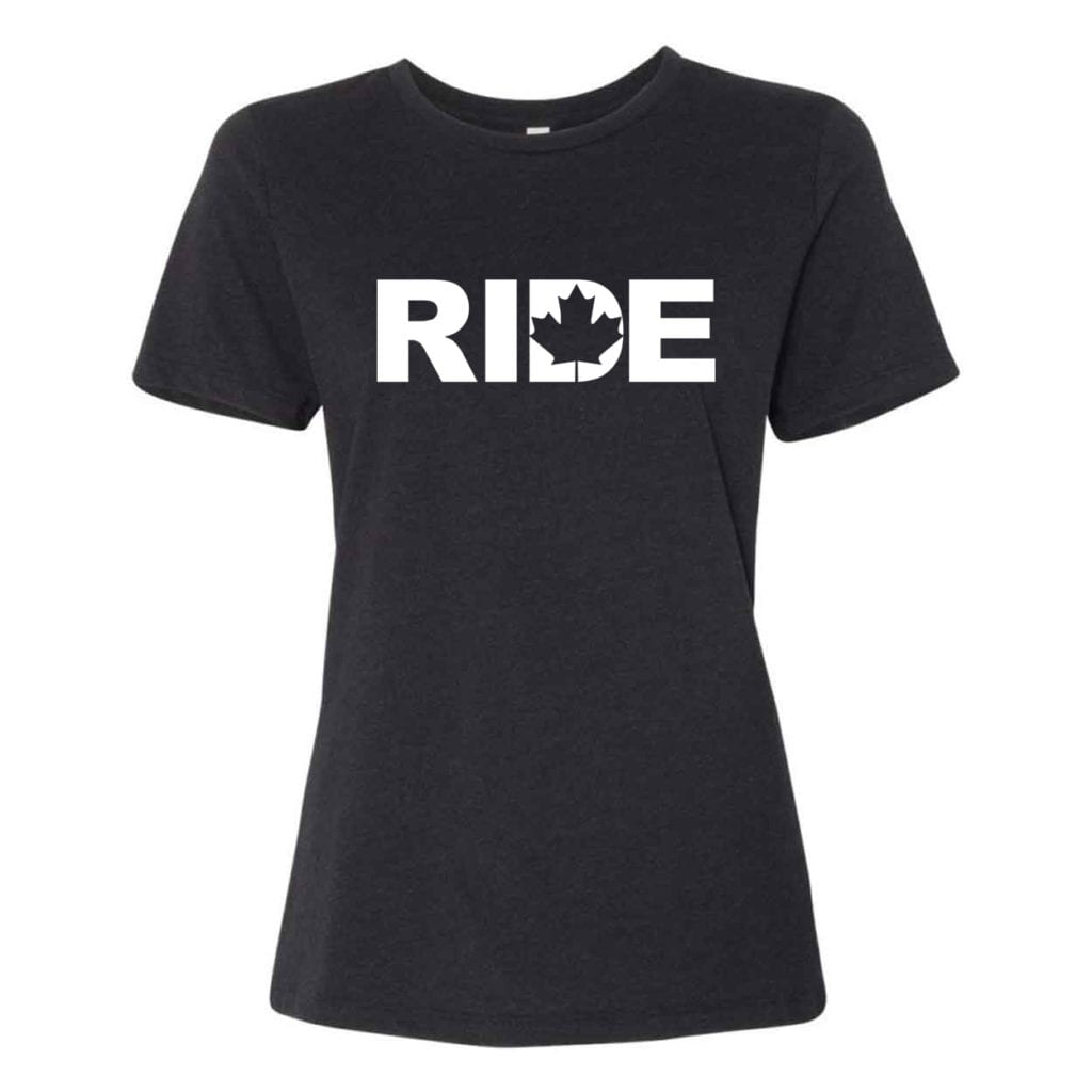 Ride Canada Classic Women's Relaxed Jersey T-Shirt Black Heather (White Logo)