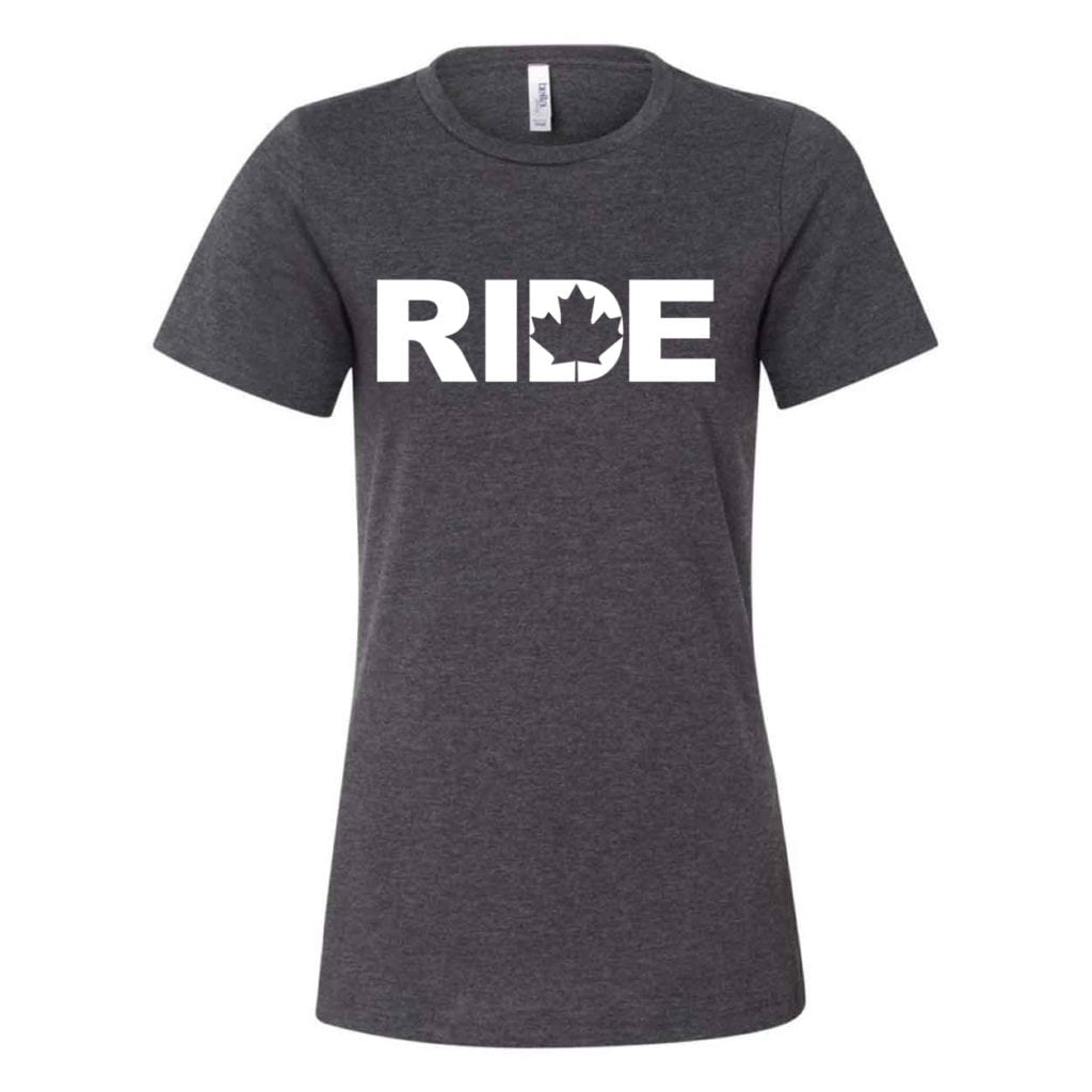 Ride Canada Classic Women's Relaxed Jersey T-Shirt Dark Gray Heather (White Logo)