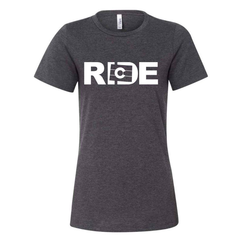Ride Colorado Classic Women's Relaxed Jersey T-Shirt Dark Gray Heather (White Logo)