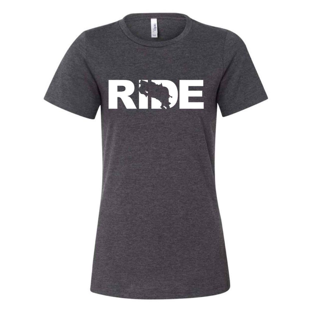 Ride Costa Rica Classic Women's Relaxed Jersey T-Shirt Dark Gray Heather (White Logo)