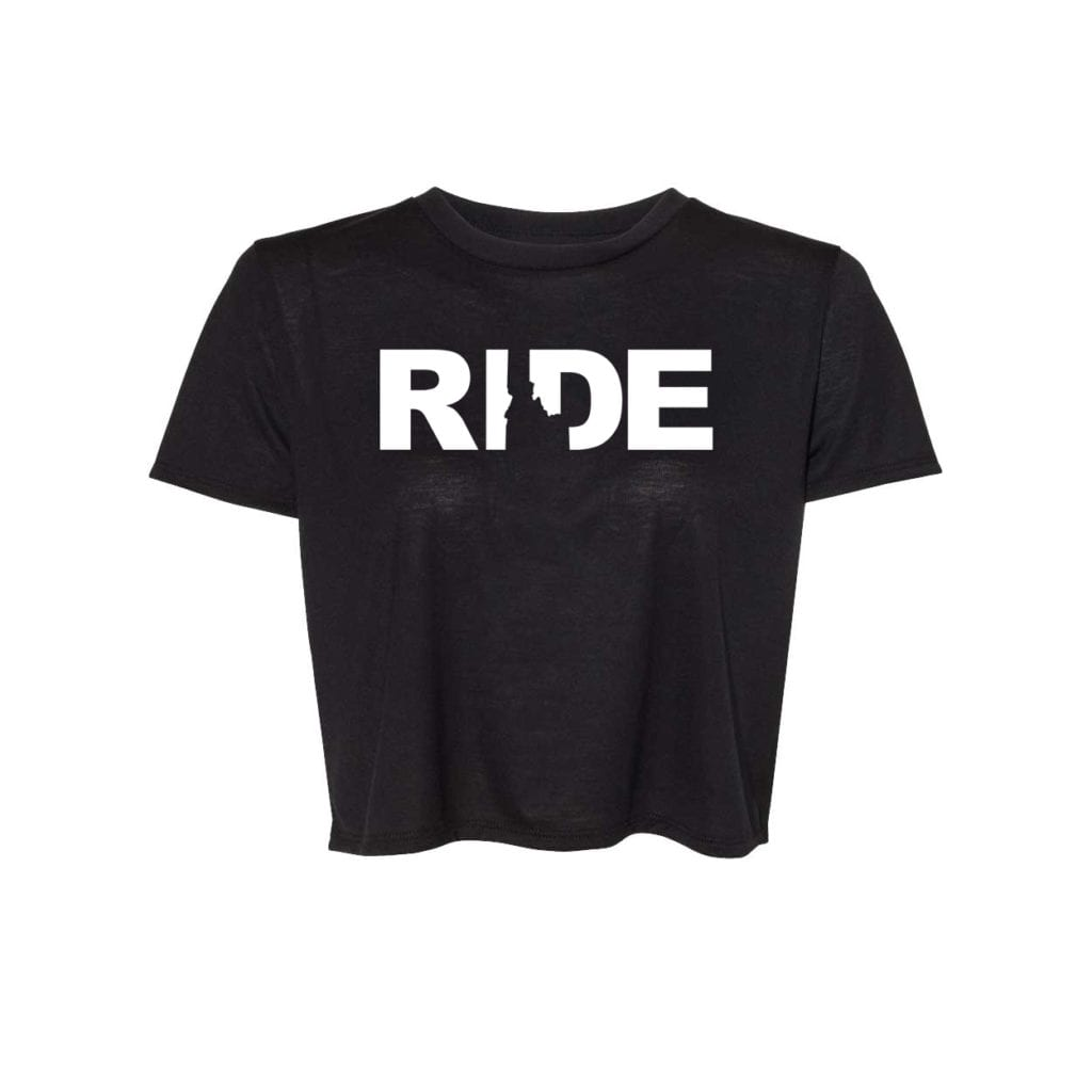 Ride Idaho Classic Womens Flowy Cropped Tee Black (White Logo)