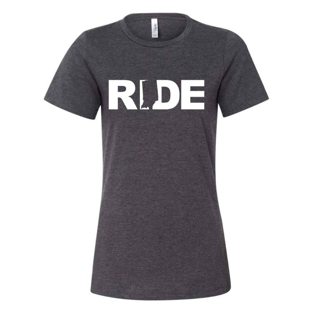 Ride Indiana Classic Women's Relaxed Jersey T-Shirt Dark Gray Heather (White Logo)