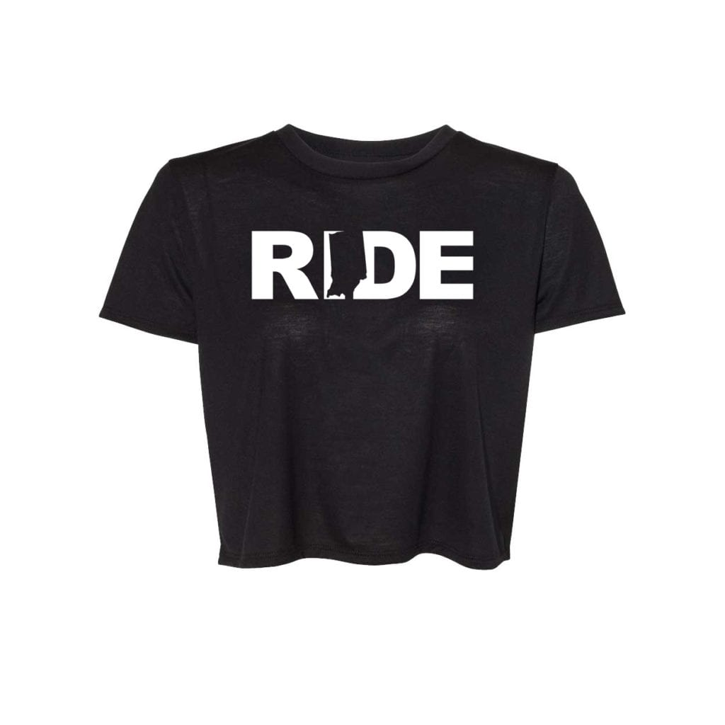 Ride Indiana Classic Womens Flowy Cropped Tee Black (White Logo)