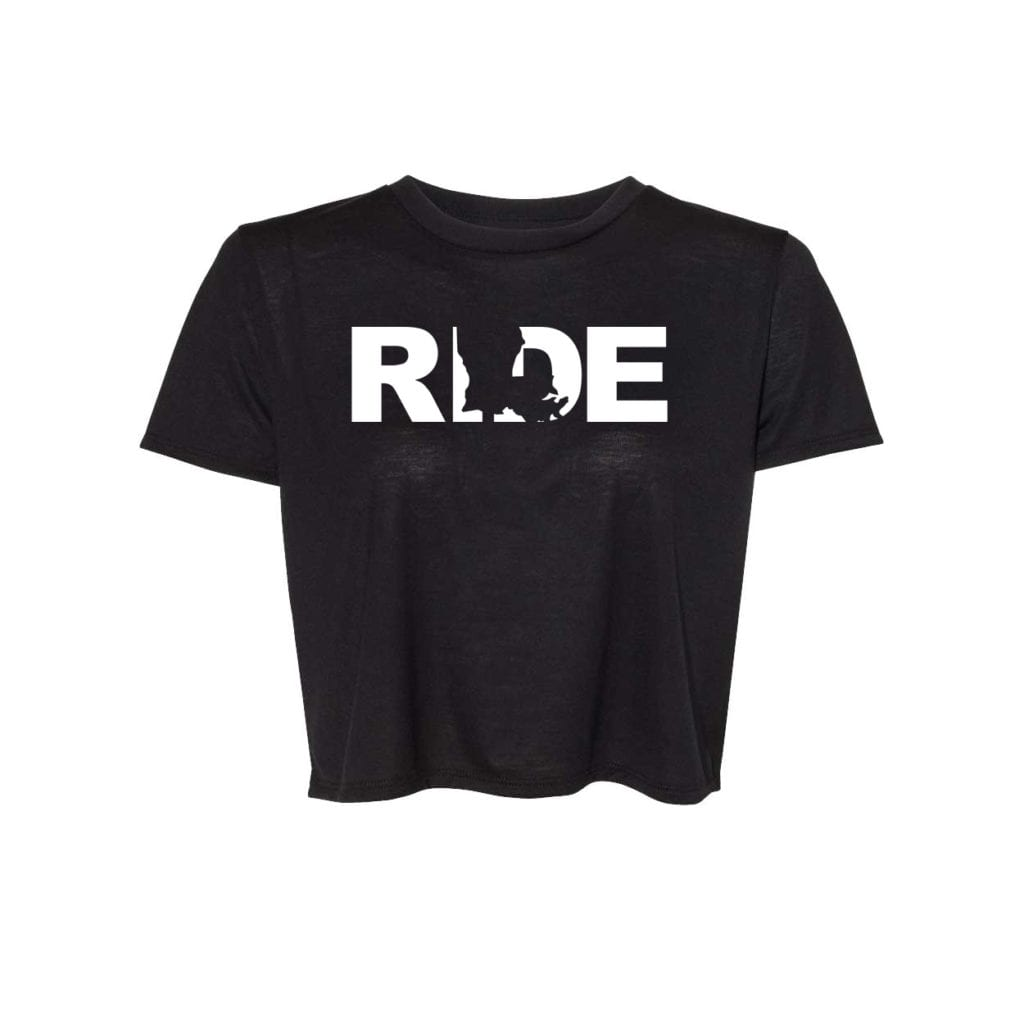 Ride Louisiana Classic Womens Flowy Cropped Tee Black (White Logo)