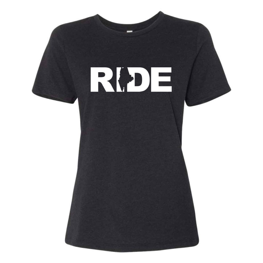 Ride Maine Classic Women's Relaxed Jersey T-Shirt Black Heather (White Logo)