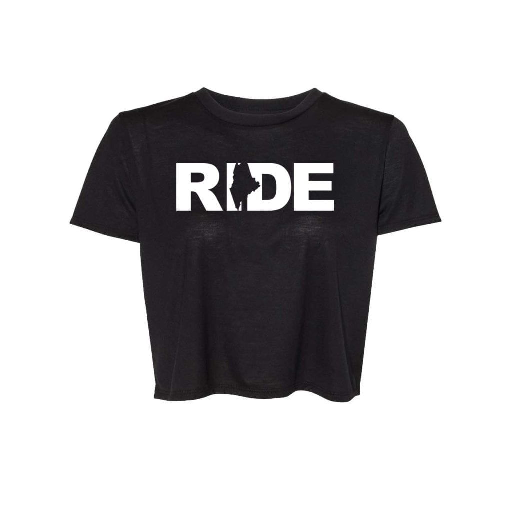 Ride Maine Classic Womens Flowy Cropped Tee Black (White Logo)