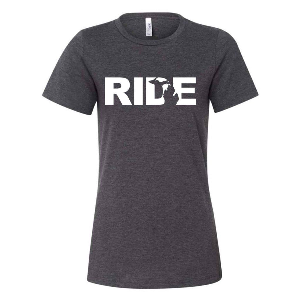 Ride Michigan Classic Women's Relaxed Jersey T-Shirt Dark Gray Heather (White Logo)