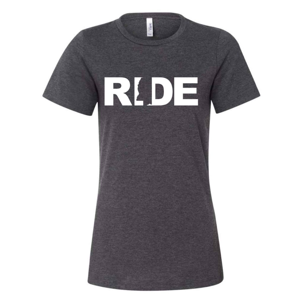 Ride Mississippi Classic Women's Relaxed Jersey T-Shirt Dark Gray Heather (White Logo)