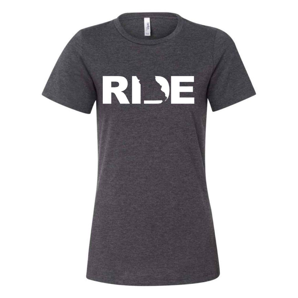 Ride Missouri Classic Women's Relaxed Jersey T-Shirt Dark Gray Heather (White Logo)