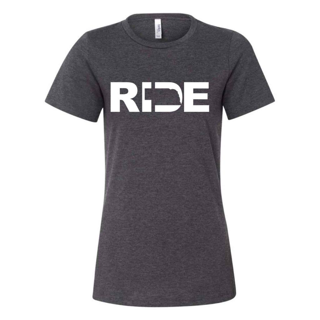 Ride Nebraska Classic Women's Relaxed Jersey T-Shirt Dark Gray Heather (White Logo)