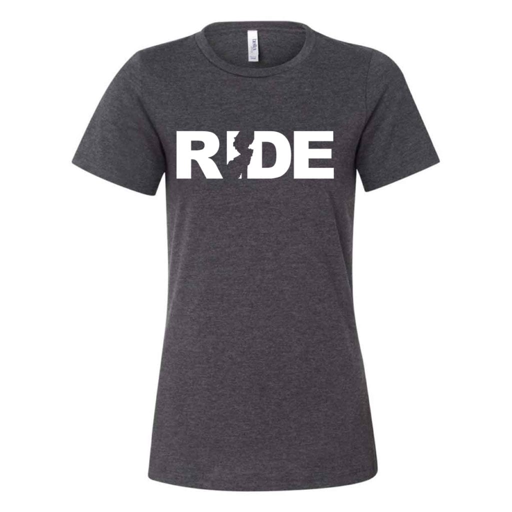 Ride New Jersey Classic Women's Relaxed Jersey T-Shirt Dark Gray Heather (White Logo)