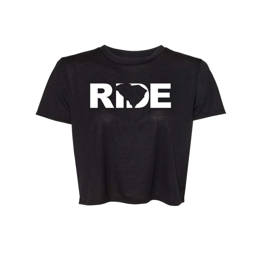 Ride South Carolina Classic Womens Flowy Cropped Tee Black (White Logo)