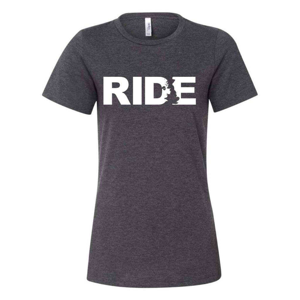 Ride United Kingdom Classic Women's Relaxed Jersey T-Shirt Dark Gray Heather (White Logo)